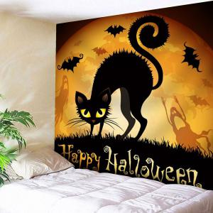Halloween Cat Bat Print Waterproof Wall Art Tapestry