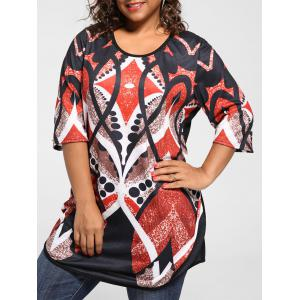 Plus Size Print Tunic Knit Top - Red - 2xl