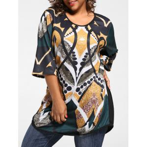 Plus Size Print Tunic Knit Top