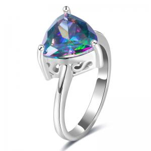 Artificial Gem Triangle Ring