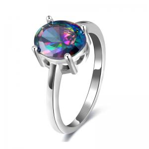 Faux Gemstone Oval Ring - Silver - 6