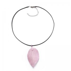 PU Leather Rope Metal Leaf Necklace - Pink - 43