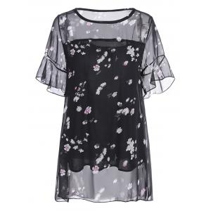 Plus Size Flowy Chiffon Printed Top