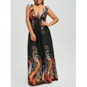 Paisley Plunge Maxi Evening Dress for Plus Size - Black - 6xl