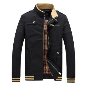 Stripe Trim Zip Insert Stand Collar Jacket