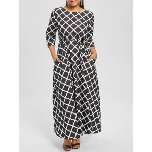 Maxi Checked Belted Dress for Plus Size - Black - 5xl