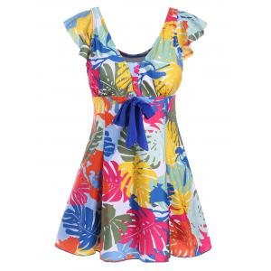 Printed Underwire Padded Plus Size Swimdress - Colormix - 5xl