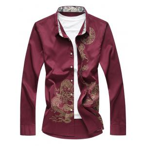Dragon Printed Button Up Casual Shirt - Wine Red - Xl