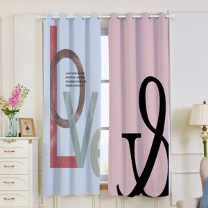 2 Panels Love Letter Print Blackout Window Curtains -