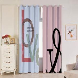2 panneaux Love Letter Print Blackout Window Curtains - Multicolore Largeur53pouces*Longeur84.5pouces