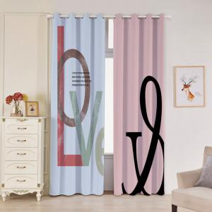 2 Panels Love Letter Print Blackout Window Curtains - COLORMIX W53 INCH * L96.5 INCH