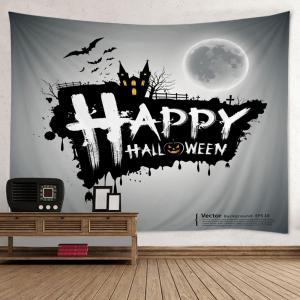Happy Halloween Print Tapestry Wall Hanging Art Decoration - Gray - W59 Inch * L51 Inch