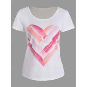 Short Sleeve Heart Ombre Print T Shirt - White - Xl