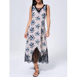 Floral Sleeveless Lace Trim Maxi Dress - Blue - L