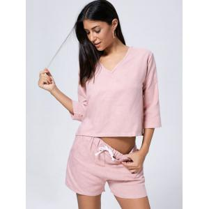 Faux Suede V Neck Casual Two Piece Suit - PINK S
