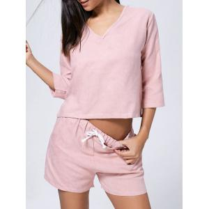Faux Suede V Neck Casual Two Piece Suit - Pink - Xl