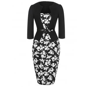 Mid Length Floral Pencil Dress