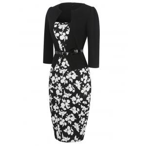 Mid Length Floral Pencil Dress - BLACK L