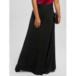 High Waist Plus Size Maxi Skirt - Black - 5xl