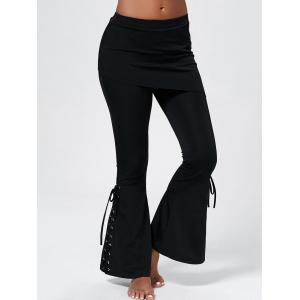 Lace Up Boot Cut Pants - Black - 2xl