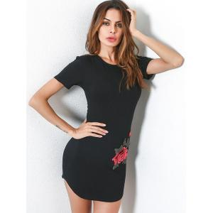 Fitted Short Sleeve Tee Embroidery Dress - BLACK L
