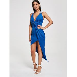 Club Cutout Criss Cross Front Twist Asymmetric Dress - BLUE L