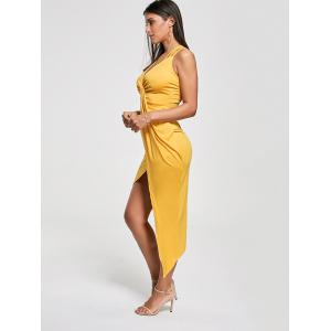 Club Cutout Criss Cross Front Twist Asymmetric Dress - YELLOW L