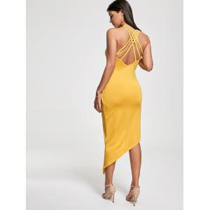 Club Cutout Criss Cross Front Twist Asymmetric Dress - YELLOW M