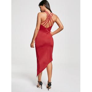 Club Cutout Criss Cross Front Twist Asymmetric Dress - RED M