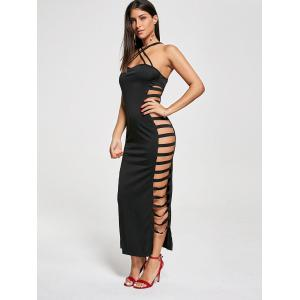 Backless Criss Cross Cut Out Robe Maxi Club - Noir L