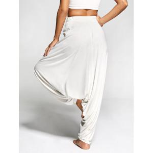 Drawstring Drop Bottom Harem Pants - PEARL BEIGE XL