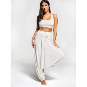 Drawstring Drop Bottom Harem Pants - OFF-WHITE XL