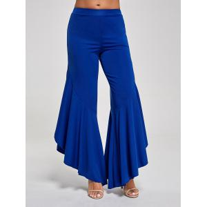 Flounce Panel High Waist Palazzo Pants - Blue - M