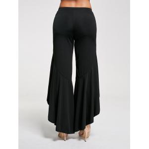 Flounce Panel High Waist Palazzo Pants - Noir XL