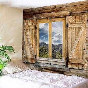 Woody Window Landscape Wall Hanging Tapestry - Light Brown - W71 Inch * L91 Inch