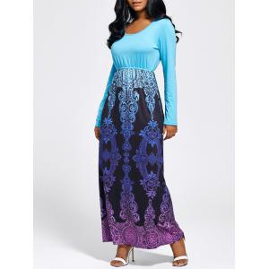 Baroque Printed Long Sleeve Maxi Dress