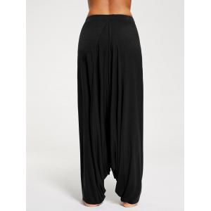 Drawstring Drop Bottom Harem Pants - BLACK L