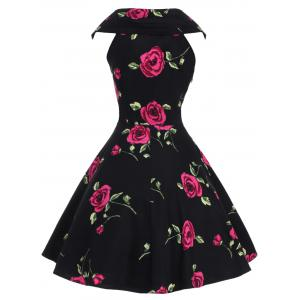 Retro Style V-Neck Rose Print Short Sleeve Ball Dress -