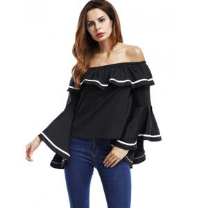 Ruffle Bell Sleeve Off The Shoulder Blouse -