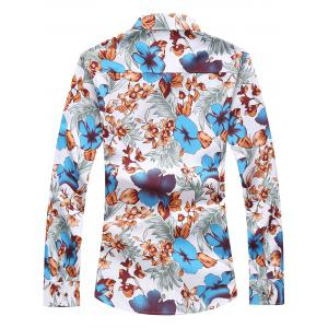 Plus Size Long Sleeve Flowers and Leaves Print Shirt -