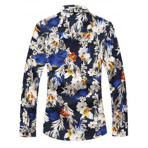 Plus Size Long Sleeve Flowers and Birds Print Shirt -