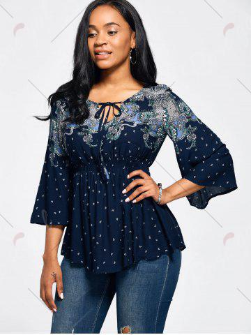 Hot Vintage Print Flare Sleeve Empire Waist Blouse - XL CERULEAN Mobile