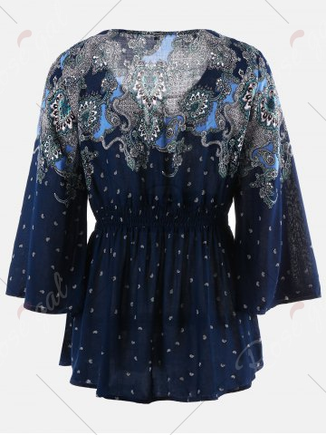 Trendy Vintage Print Flare Sleeve Empire Waist Blouse - XL CERULEAN Mobile