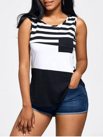 Front Pocket Color Block Striped Tank Top - White And Black - Xl