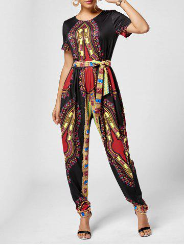 Unique Tribe Print Jumpsuit - 2XL BLACK Mobile