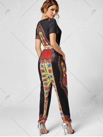 Outfits Tribe Print Jumpsuit - S BLACK Mobile