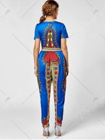 Fancy Tribe Print Jumpsuit - 2XL ROYAL Mobile