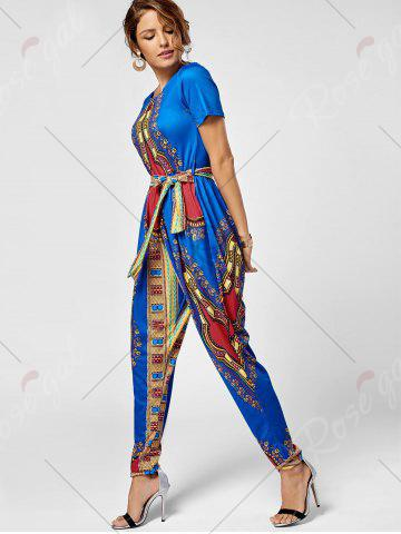 Outfits Tribe Print Jumpsuit - 2XL ROYAL Mobile