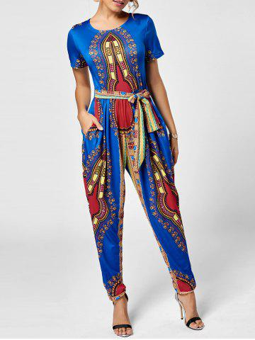 Unique Tribe Print Jumpsuit - 2XL ROYAL Mobile