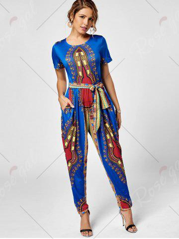Best Tribe Print Jumpsuit - 2XL ROYAL Mobile